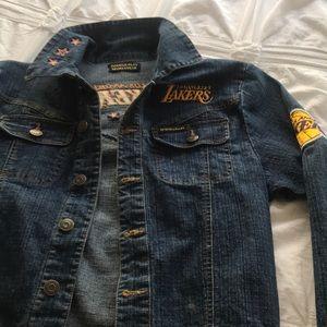 LA Lakers custom cropped denim jacket